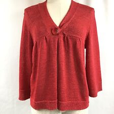 Josephine Red Knit Cardigan With one Button Closure Sz M