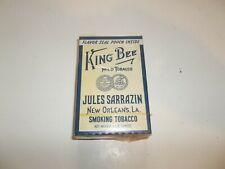 Vintage King Bee Mild Tobacco Box Package Jules Sarrazin New Orleans La. !