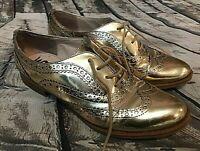 Sam Edelman 7M Gold Metallic Jerome Oxford Wing Tip Lace Up Shoes, 37.5 EUR