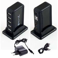 High-Speed 7-Port Hub USB 2.0 + Netzteil + USB Kabel Schwarz Aktiv Verteiler EP