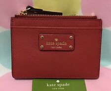 NEW Kate Spade Adi Grove Street  Leather Card/Coin Zip Mini Wallet Red Carpet$59