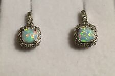 Divine Solid Sterling Silver 925 Opal Earrings Genuine Diamond Studs