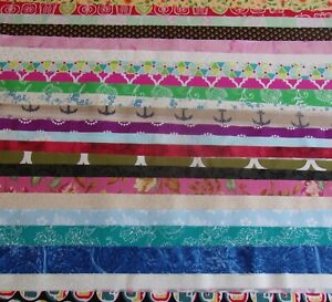 Jelly Roll  20 Assorted Variety Fabric 2 1/2 XWOF Scrappy Quilt Cotton Free Ship