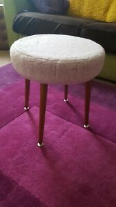 MINT Vintage Stool Sherborne Pink Faux Fluffy Fur - Dressing table