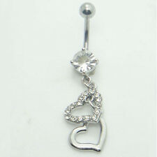 Body Piercing Jewelry Belly Button Double Heart Crystal Rhinestone Navel Ring
