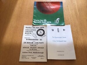 CHRIS OLD CRICKETER BENEFIT SEASON 1979 PROG, DINNER MENU & BROCHURE