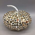 "Mosaic Glass Pumpkin Iridescent Amber Black White Thanksgiving Fall Decor 6"""