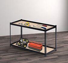 Homcom–Tavolo da Lavoro per Officina in MDF e Acciaio 150 x 60 x 90cm Nero