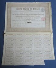 Old 1899 - Societe Miniere de Moncayo - MINING BOND Certificate - Bruxelles