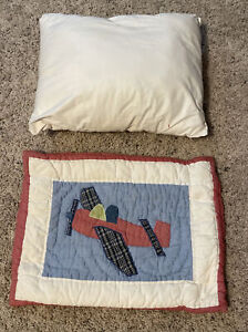 Pottery Barn Kids toddler Crib Size Vintage Airplane Sham and pillow insert EUC
