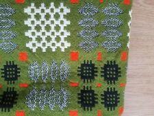 More details for vintage welsh tapestry blanket green, grey and orange large