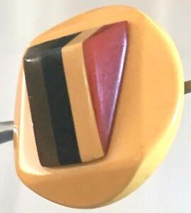Vintage 5-Color Bakelite Dimensional Button