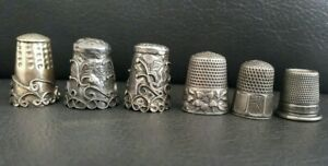 Lot of (6) Antique Sterling Silver Thimbles