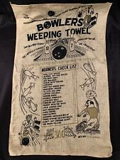 Vintage Bowlers Weeping Crying Towel Bowling Collectible Novelty Gift