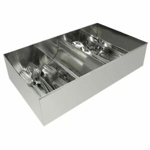 Olympia Cutlery Holder Stainless Steel Tray Storage 4 Compartments Catering