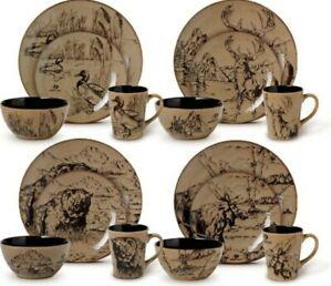 Mossy Oak 16 Piece Dinnerware Set Animal Deer Print New FREE SHIPPING