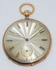 Antique Cylinder Repeater Pocket Watch ~ Engraved Silver Dial in 18K Gold Case