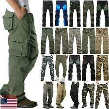 Mens Tactical Combat Pants Military Cargo Work Multi Pockets Trousers Bottoms