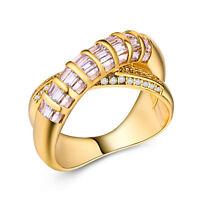 Infinity 18k Yellow Gold Plated Emerald Cut Women White Sapphire Ring Size 6-10