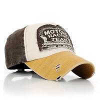 Women men Vintage Retro Motorcycle Caps Baseball Golf Cotton Adjustable Hat