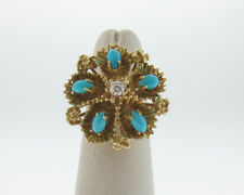 Fine Estate Natural Turquoise Diamond Solid 18k Yellow Gold Flower Cocktail Ring