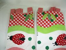 """2=  Red / White Ladybug Window Valance Sculpted Tab Top  Curtain 60"""" X 20"""" EUC!"""