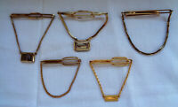 Vintage Tie Bar with Chain lot Gold Tone signed Anson Kreisler Swank