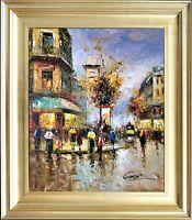 Signed Original Oil On Canvas, Linen Liner Gold Frame, Rainy Paris City Scenery