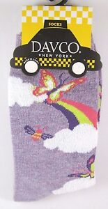 Davco Lavender Butterfly Rainbow Clouds Socks Womens acrylic Blend Sock New