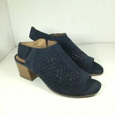 White Mountain Lenora Ankle Suede Sandals Blue 9.5