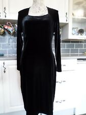 MARKS AND SPENCER BLACK VELVET STRETCH LONG SLEEVE CALF LENGTH DRESS SIZE 14