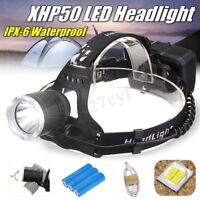 50000LM XHP50 LED Rechargeable Headlamp Headlight Zoom Light Head Torch   *