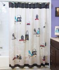 Fashionista Fabric Shower Curtain High Heels Purse Purfume Bottle
