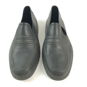 Totes Mens Small Black Rubber Overshoe Rain Shoe Covers Loafer Style