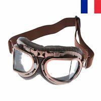 Moto Lunettes Vintage Adulte Goggles Pilot Anti-UV Réglables Claires Lentilles