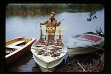 1950's Iguana Hunter in Boat man gun lizard, Original Kodachrome Slide d7b