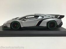 Kyosho 1/18  Lamborghini Veneno Grey W/ Green Body Stripes Car Model 09501GRG