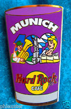 MUNICH PINT GLASS SERIES #102 BLONDE BEER SERVER GIRL & TUBA Hard Rock Cafe PIN