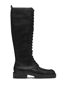 E8 by Miista Reese Womens UK 6 EU 39 Black Leather Zip & Lace Up Knee High Boots