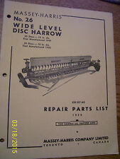 VINTAGE MASSEY HARRIS  PARTS MANUAL -# 26 WIDE LEVEL DISC HARROW- 1950