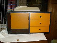 Schrank Schränkchen Schubladenschrank Hängeschrank Kasten Holz orange schwarz