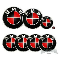 For BMW Badges - Gloss Black & Red - All Models Decals Wrap Stickers Overlays
