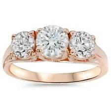 1 3/8 CT Diamante 3 Piedra Anillo de compromiso 14K Oro Rosa Pasado Presente Futuro