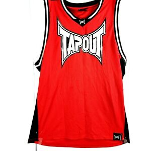 TAPOUT Mens Singlet Tank Top Size L Red Black Believe Edition Basketball Jersey