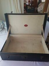 Vintage Large c1930's Black Steam Trunk Travelling Chest W M Whiteley RgT TERCO