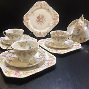 KPM Royal Ivory- Riviera- Dessert Set Cabinet Square  Plates Floral Cups Saucers