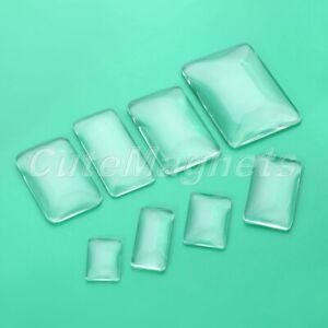DIY Crafts Rectangle Glass Cabochons Transparent Flat Back Crystal Magnify 8Size