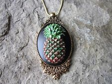 HAND PAINTED PINEAPPLE CAMEO ANTIQUED GOLD TONE NECKLACE -TROPICAL, VACATION, G2
