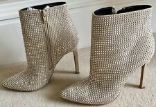 Aldo sparkle beige ankle high heel boot size 5