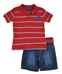 Beverly Hills Polo Club Toddler Boys Striped Polo 2pc Short Set Size 2T 4T